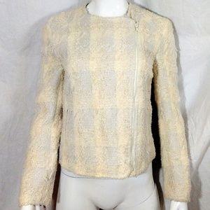 NWOT Hazel Yellow & White Zippered Light Jacket